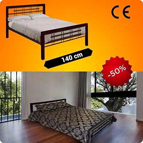 Metal cama 200 x 140 cm, con Mahogany patas de madera + ...