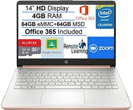 "2021 Newest HP Stream 14"" HD SVA Laptop Computer, Intel Celeron N4000 Processor, 4GB RAM, 128GB Space(64GB eMMC+64GB MSD), Office 365, HDMI, USB-C, Windows 10, Rose Gold, AllyFlex MP, Online Class"