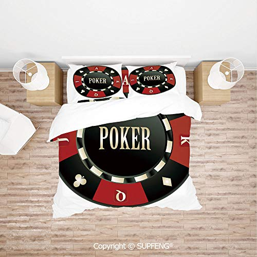 SCOXIXI 3D Bedding Sets Casino Chip with Poker Word in Center Rich Icon Card Suits Decorative (Comforter Not Included) Soft, Breathable, Hypoallergenic, Fade Resistant Double Suit Clay Poker Chip