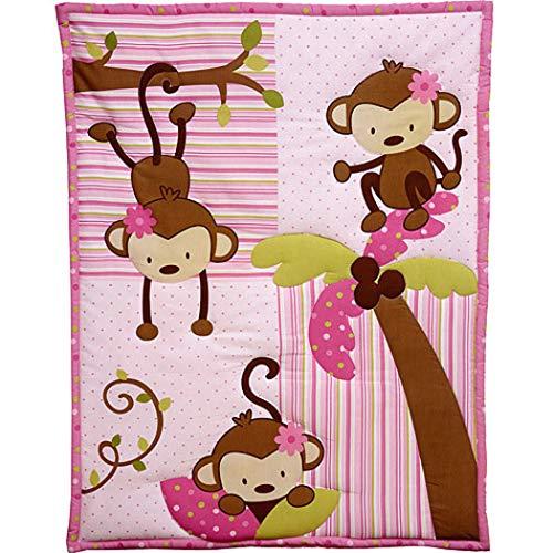 Border Bedding Baby (10 Piece Baby Girls Pink Brown Green Monkeys Crib Bedding Set, Newborn Jungle Nursery Bed Set, Safari Themed Patchwork Animals Nature Trees Infant Child Bold Border Comforter Blanket, Cotton Polyester)