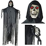 Prextex 5 Ft. Animated Hanging Grim Reaper Skull with Shackles Chains Best Halloween Decoration Prop