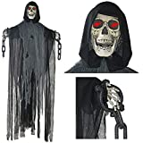 Prextex 5ft Animated Hanging Grim Reaper Skull Halloween Decoration (Small Image)