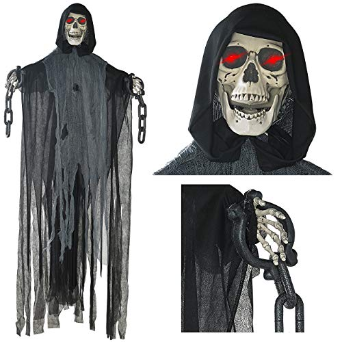 Prextex 5 Ft Animated Hanging Grim Reaper Skull with Shackles Chains Best Halloween Decoration Prop