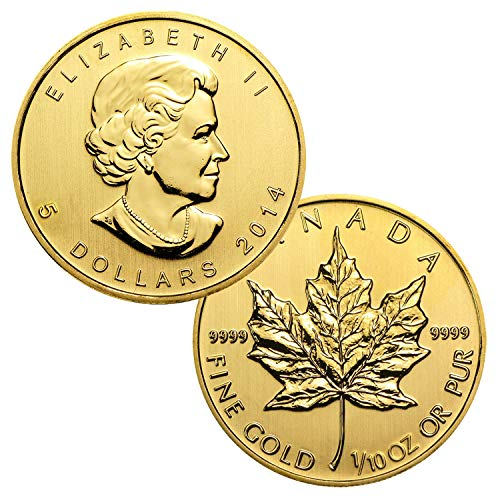 (1/10 Ounce Canadian Gold Maple Leaf $5 Brilliant)