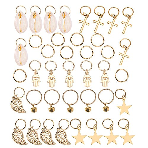 Trasfit 40 Pieces Hair Braid Rings Hair Loops Clips Gold Ring Shell Hands Leaves Star Bell Pendant Rings Set Hair Clip Headband Hair Accessories - - Apparel Locations Alloy