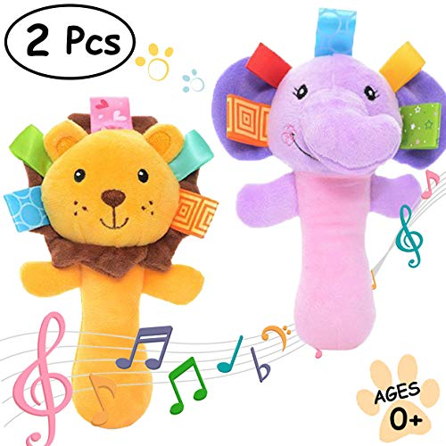 MerVeilleux Cartoon Stuffed Animal Baby Soft Plush Hand Rattle Squeaker Sticks for Toddlers - Elephant and (Animal Rattles)