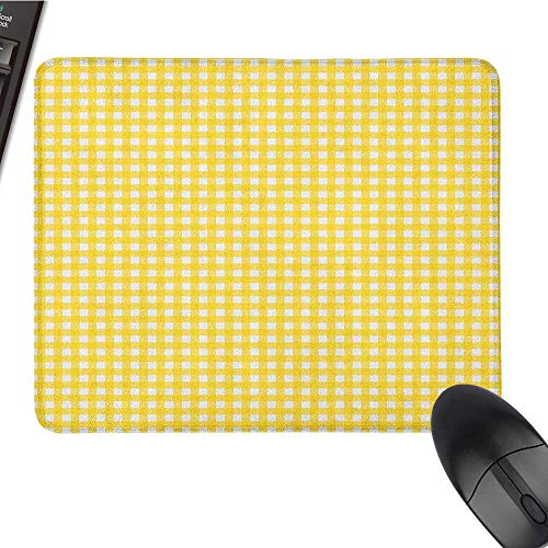 (Funny Mouse pad Checkered,Classic English Pattern in Yellow Picnic in Summertime Theme Retro Striped, Yellow White Black Cloth Mousepad 15.7 x23.6 INCH)