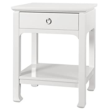 Bruna Top Drawer Regency White Lacquer Nightstand