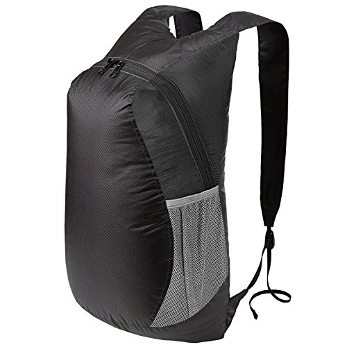 SNOWHALE Ultra Lightweight Packable Day Pack Hiking Traveling Camping Backpack 0712 (Black)