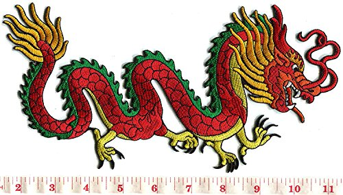 Chinese dragon kung fu tattoo embroidered applique iron-on patch LARGE 5 X 10 inches]()