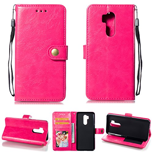 Ostop LG G7 Case,LG G7 ThinQ Leather Wallet Case,Magenta Classic Oil Wax PU Stand Purse Credit Card Slots Holder Flip Stylish Simple Cover with Retro Metal Clasp for LG G7/G7 ThinQ