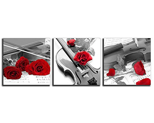 NAN Wind 3 Pcs 12X12inches Canvas Print Violin and Red Rose in Black and White Modern Giclee Stretched and Framed Artwork for Home Decor Music Pictures Prints On Canvas for Wall ()