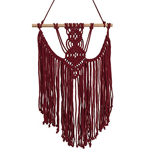 Ling's moment Red Macrame Wall Hanging Tapestries, Fall Decorations, Thanksgiving Decor, Bohemian Home Decor 16