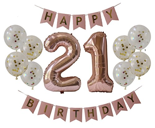 21st Birthday Decorations! - Rose Gold Party Pack