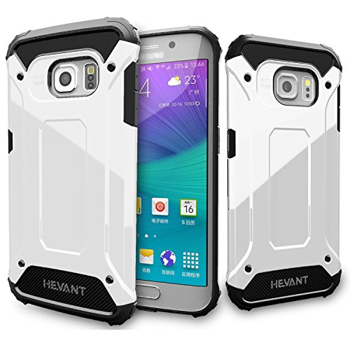 Rugged Edges (Galaxy S6 Edge Rugged armor Case,Soft TPU + Hard PC armor case,Armor Design Case For S6 Edge,Smooth Surface Case for Galaxy S6 Edge-GHT517(White))