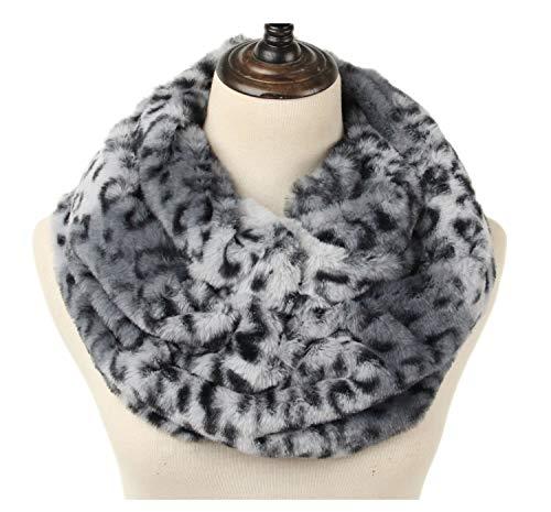 La Carrie Womens Faux Fur Leopard Print Infinity Scarf Loop Circle Neck Warmer(Grey Leopard) ()
