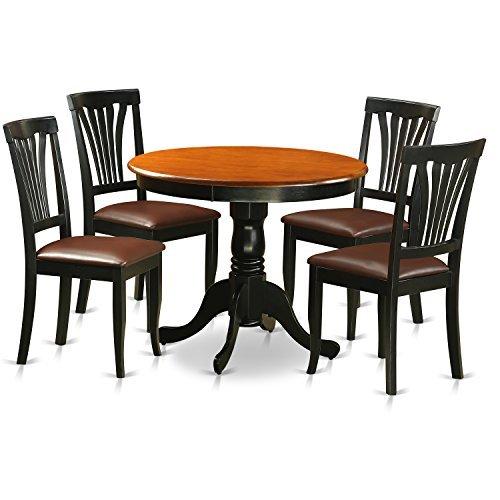Antique 5 Piece Kitchen Nook Set Finished In Black & Cherry - East West Furniture ANAV5-BLK-LC