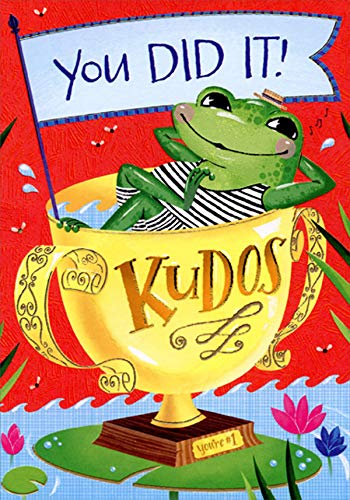 Designer Greetings Frog Inside Trophy Accomplishment Congratulations Card for Kids/Children with Stickers