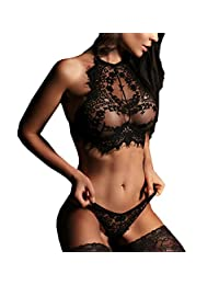 Muranba Women Sexy Lingerie Lace Flowers Push Up Top Halter Bra Pants Underwear Set