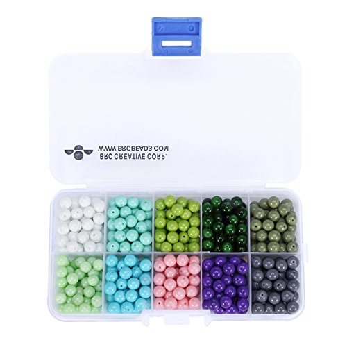 BRCbeads 6mm 500pcs Opaque GREEN COLOR Tiny Satin Luster Glass Pearls Round Loose Beads + FREE Plastic Jewelry Container Box Wholesale Assorted Mix Lot For Jewelry Making ()