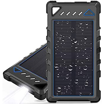 Portable Solar Charger, BEARTWO 10000mAh Ultra-Compact External Batteries with Dual USB Ports, Solar Power Bank with Flashlight for Camping, Outdoor ...