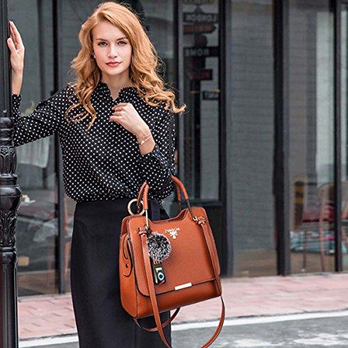 NICOLE & DORIS Trendy Hot Women Crossbody Bag Simple Office Lady Bolso de hombro PU Leather Negro Amarillo
