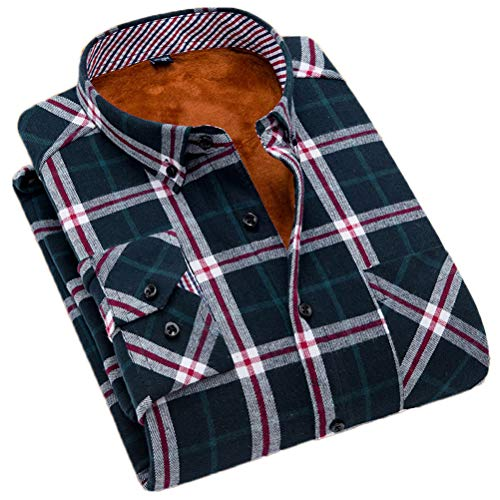 (Soojun Men's Fleece Lined Plaid Thermal Flannel Shirt, F38, Large(US 44))