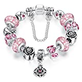ATE Charm Bracelet Flowers Crystal and Murano Glass Beads with Safety Chain for Women JW-B170 (Pink2-18cm)