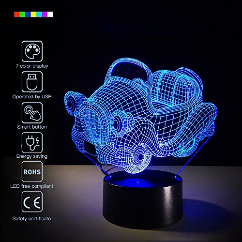 Car 3D Night Light Toy Car Beside Lamp Help Kids Fell Safe at Night 7 Colors Change Decor Perfect Birthday Gift for Kids Great Toy Gift Idea for Kids (Toy Car) ()