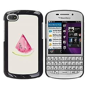 Paccase / SLIM PC / Aliminium Casa Carcasa Funda Case Cover para - Watercolor Watermelon Beige Pink Fruit - BlackBerry Q10