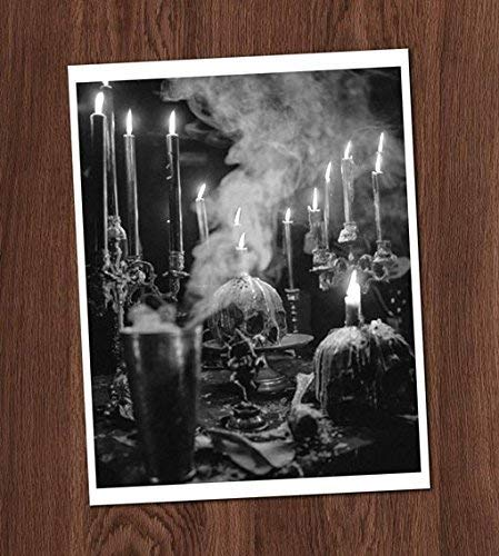 Creepy Skulls Candles Table Altar Shrine Black White Vintage Photo Art Print 8x10 Wall Art Halloween Decor