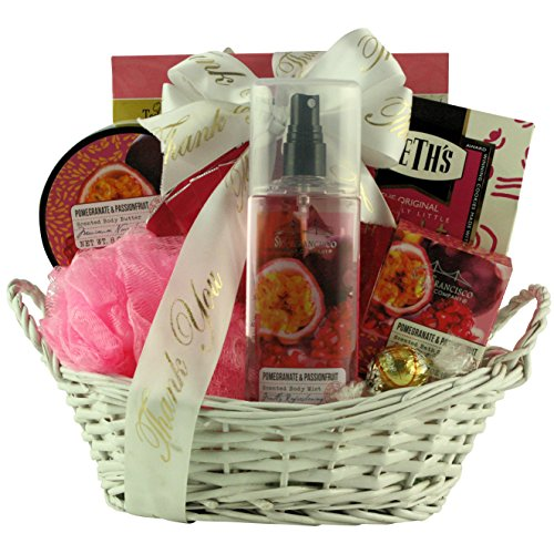 Spa Passion - GreatArrivals Pomegranate & Passionfruit Spa Retreat Bath & Body Thank You Gift Basket, 4 Pound