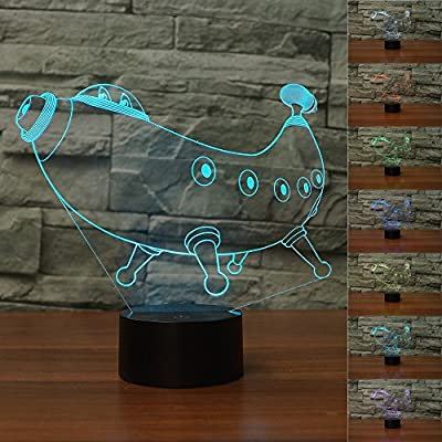 3D Optical Illusion LED Desk Lamp , 7 Color changing with USB Cable Touch Button Night Light - Best Gift for Kids/ Friends/ Birthdays/ Home Bedroom Decor Lighting