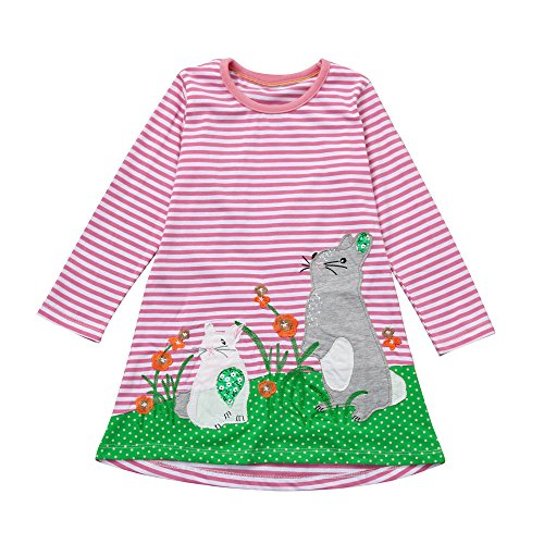 Pocciol Clearance/Toddler Baby Girl Kid Spring Dress Children Horse Print Stripes Sleeves Princess Party Dress (Striped-RABIT, -