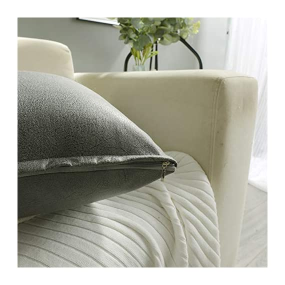 CZHO Pack of 2, Soft Decorative Faux Leather Pillow Covers, Square Modern Outdoor Cushion Case, Durable Rustic Throw Pillow Cover Shell for Couch Sofa Bed 18x18 Inch (Stone Grey) - Material: 100% durable Polyresin (not real faux leather, it is leather looking), very soft and enviroment-friendly. After receiving item, creases will come out when you insert throw pillow. PACKAGE: Include 2 pcs 18 x 18 Inch / 45X45cm Faux Leather Pillow Covers ONLY. NO CUSHION INSERTS. DESIGN: Same design / pattern on BOTH SIDES of these Faux Leather Cushion Covers. These REVERSIBLE pillow shams come with SEMI-HIDDEN ZIPPER (Sturdy and Smooth) for elegance. Full opening (18 Inch) on one side for EASY INSERTION and removal of pillows. Tight zigzag over-lock stitches to avoid fraying and ripping. - patio, outdoor-throw-pillows, outdoor-decor - 51rv80NPzHL. SS570  -