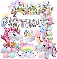 MMTX Unicorn Birthday Balloons Party Decoration for Girls lady,Huge 3D Unicorn Balloons Unicorn Cake Toppers Macaron...