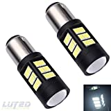 LUYED 2 X 1500 Lumens Extremely Bright 1157 4014 72-EX Chipsets 1157 2057 2357 7528LED Bulbs,Black Metal Aluminum Dissipate Heat With Adjustable Lens,Xenon White
