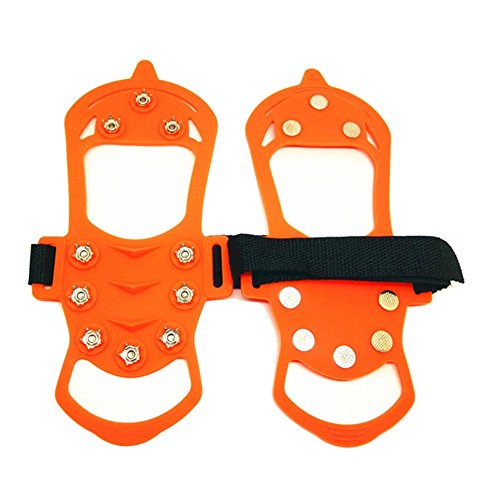 Lougnee Non slip Spikes Crampons Ice Snow Shoes Chain Cleats for Climbing Walking and Hiking