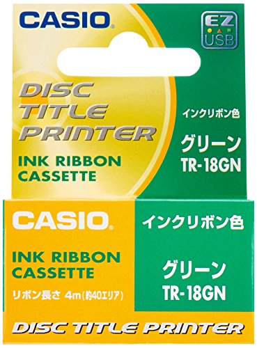 Disc Title Printer Thermal Ink Ribbon Cartridge for Casio CW50/75/More, Green -