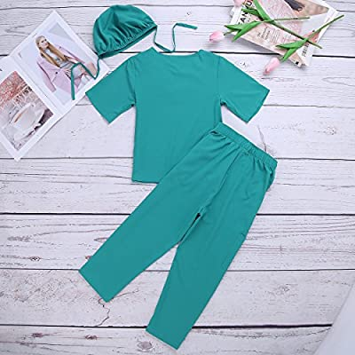 FEESHOW Childrens Scrubs Set Toddler Kids Doctor Surgeon Outfit Dress up Costumes Boys Girls Lab Coat: Clothing