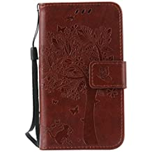 "Galaxy Core LTE/Core 4G(4.5"")case,G386(2014)case,Bujing Coffee Embossed Cat&Tree Design Card Slot Stand Wallet Case Only For Samsung Galaxy Core LTE/Core 4G(4.5"")(2014)"