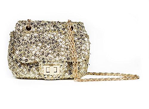 [FRILLS Girls Sequin Purse - Perfect designer bag for children and women - Leather Handbag with gold shoulder strap! -] (Toddler Boy Big Bird Costume)