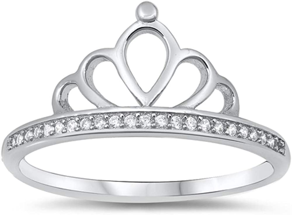 Prong Set Clear Cubic Zirconia Tiara Ring 925 Sterling Silver