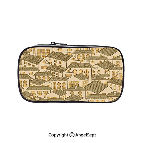 Cute Pencil Case - High Capacity,Hand Drawn Village Town Houses Pattern with Pyramidal Roofs Decorative Sand Brown Marigold Reseda Green 5.1inches,Multifunction Cosmetic Makeup Bag,Perfect Holder for ()