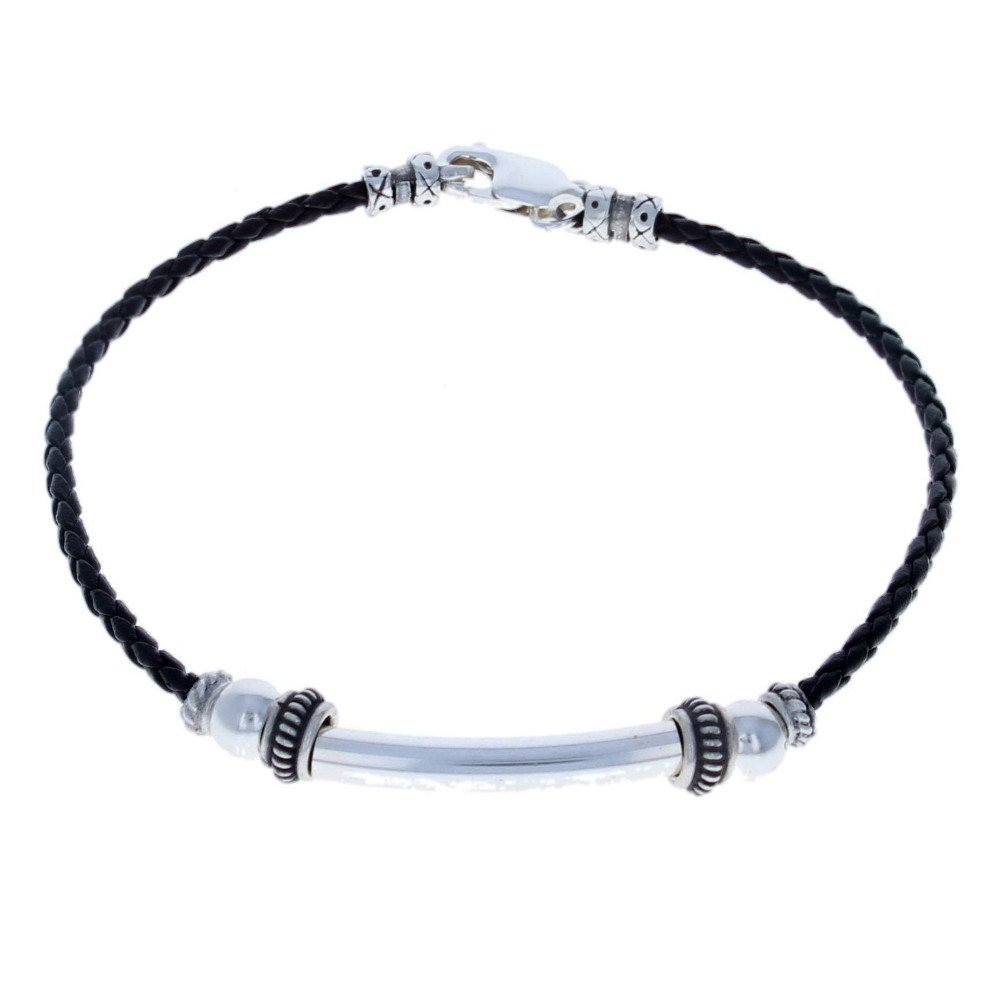 Timeless-Treasures Womens Sterling Silver & Black Leather Ladies Anklet - 9''