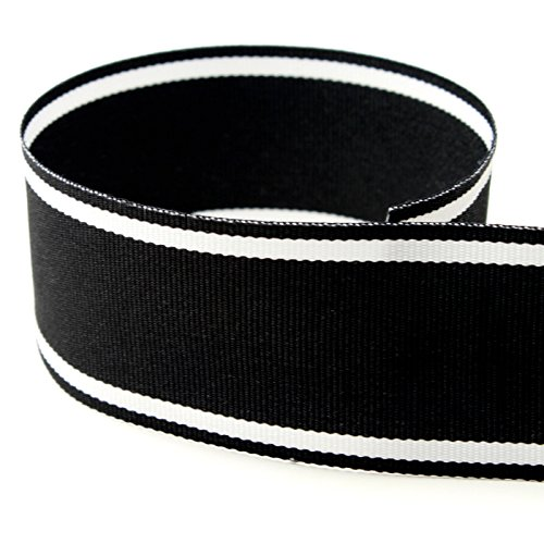 Italian Ribbon (USA Made 1-1/2 Italian Side Street Striped Grosgrain Ribbon (Black and White Stripe Ribbon) - 50 Yards)