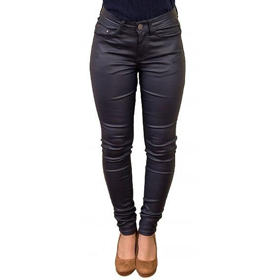 Primtex Jean Femme Enduit Coupe Slim Taille Haute Effet Simili Cuir sky-34 40e0c01b7978
