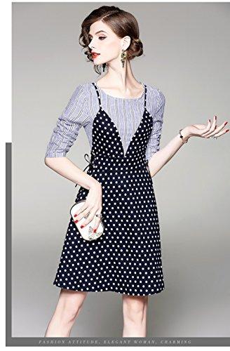 Cotylédons Women`s Faux Robes Deux Pièces À Manches 3/4 À Encolure Dégagée Haute Taille Slim Robes Courtes