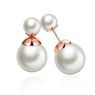 ef860f87484e25 Styleziel women's double pearl stud earrings, gold, 10 mm, 1720:  Amazon.co.uk: Jewellery