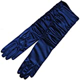 ZaZa Bridal Gathered Shiny Stretch Satin Dress Gloves-One Size Fits Most-Dark Navy